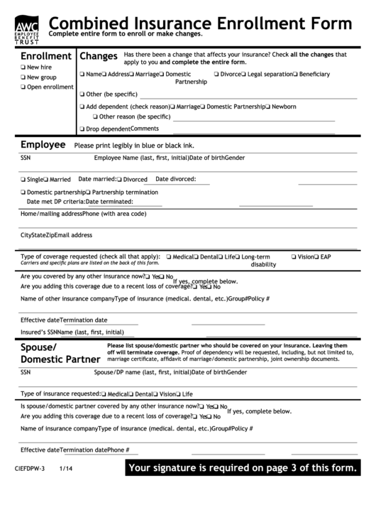Fillable Form Ciefdpw-3 1/14 - Combined Insurance ...