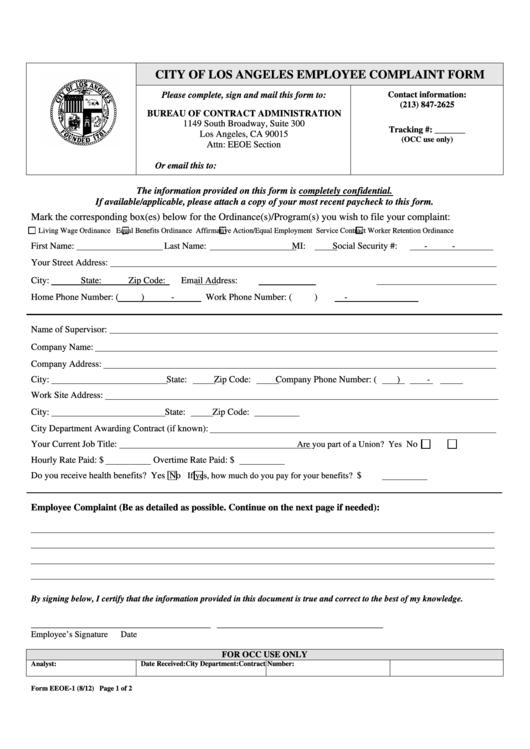 Employee Complaint Form Bureau Of Contract Administration - City Of La