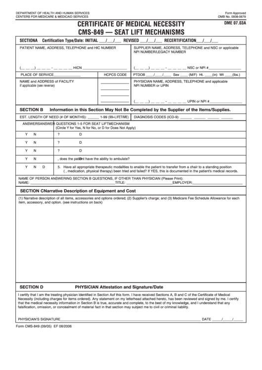 Form Cms-849 - Certificate Of Medical Necessity Cms849 Seat Lift Printable pdf