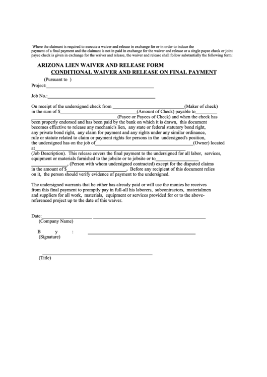 Arizona Lien Waiver And Release Form Conditional