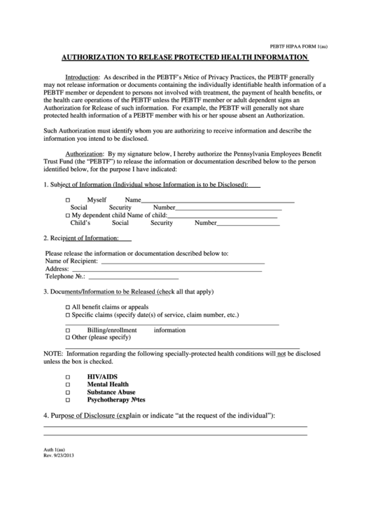 Pebtf Hipaa Form 1 - Authorization To Release Protected Health Information