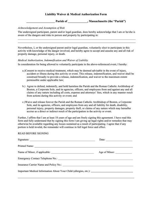 Liability Waiver & Medical Authorization Form - Parish Of Massachusetts Printable pdf