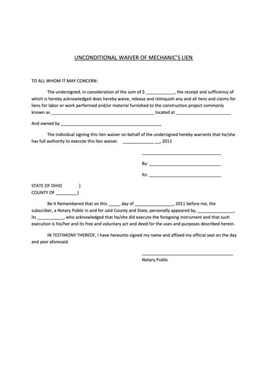 unconditional waiver of mechanics lien form printable pdf download. Black Bedroom Furniture Sets. Home Design Ideas