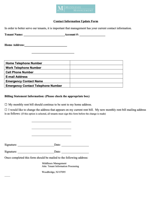 Contact Information Update Form   Middlesex Management  Contact Information Form Template