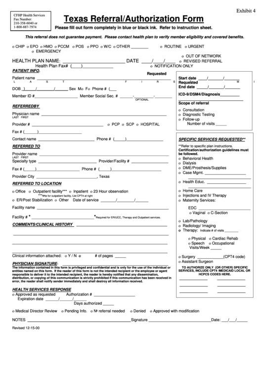 Texas Referral Authorization Form printable pdf download