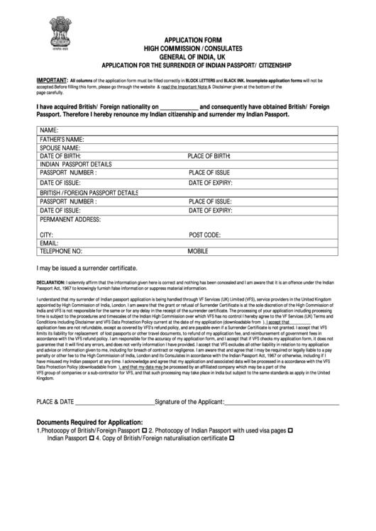 India Renunciation Certificate Sample