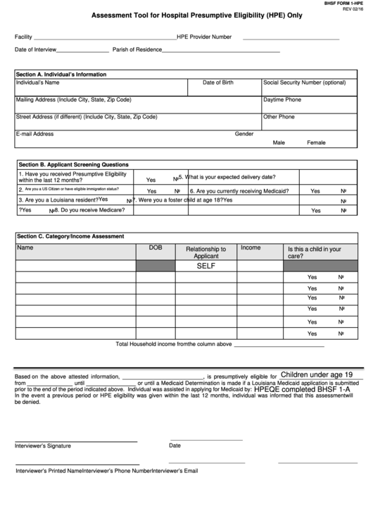 Bhsf Form 1-hpe - Assessment Tool For Hospital Presumptive Eligibility (hpe) Only