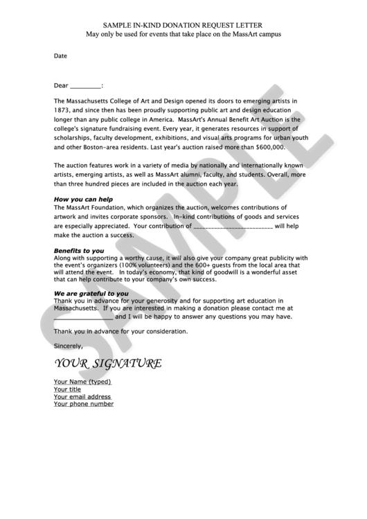 Sample In-Kind Donation Request Letter printable pdf download