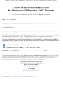 Letter Of Recommendation Form For Doctorate Of Education