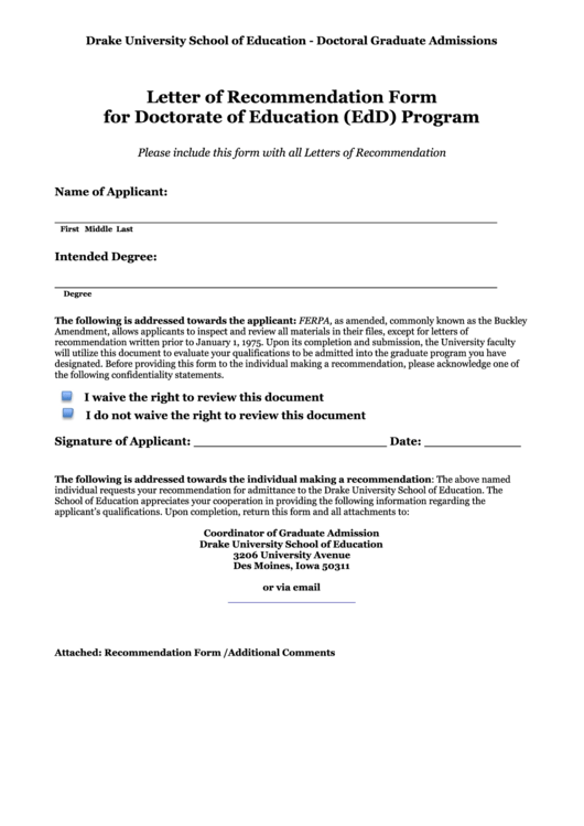 Letter Of Recommendation Form For Doctorate Of Education Printable pdf