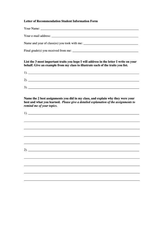 Letter Of Recommendation Student Information Form