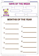 Days Of The Week Months Of The Year Worksheet Template (bear)