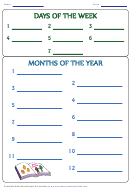 Days Of The Week Months Of The Year Worksheet Template (book)
