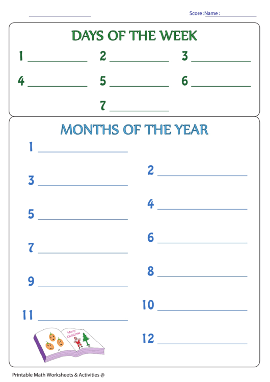 Days of the week months of the year worksheets pdf