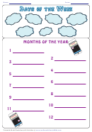 Days Of The Week Months Of The Year Worksheet Template (phone)