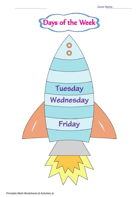 Days Of The Week Chart Printable pdf