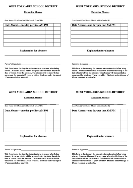 Excuse For Absence Form Printable Pdf Download