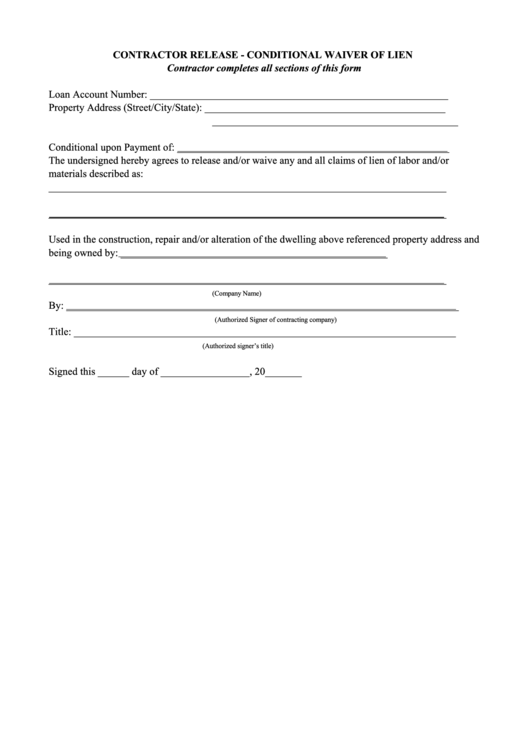 Conditional Waiver Of Lien Form