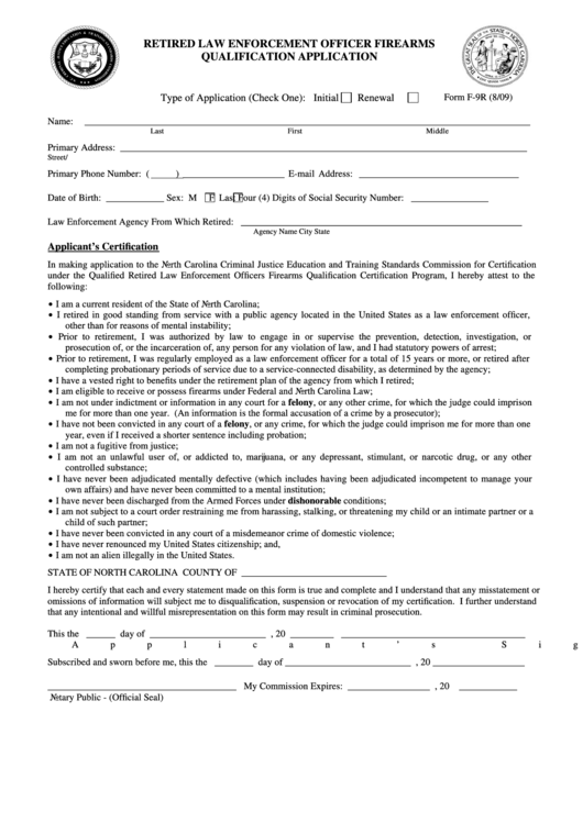 Form F-9r - Retired Law Enforcement Officer Firearms Qualification Application Printable pdf