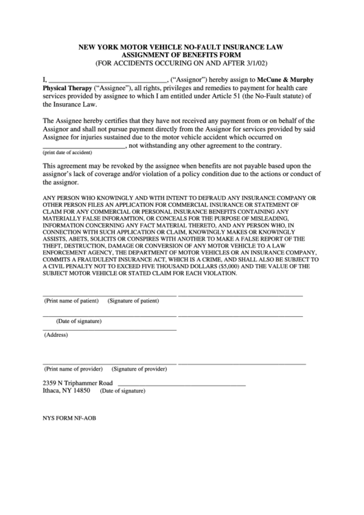 69 nys dmv forms and templates free to download in pdf for Assignment of benefits form template