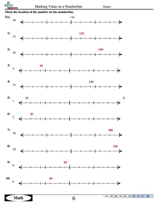 Marking Value On A Numberline Worksheet