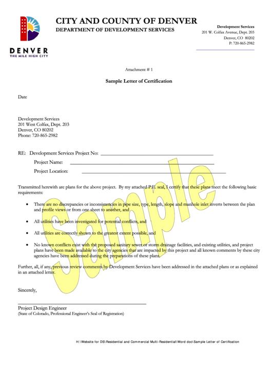Sample Letter Of Certification Template