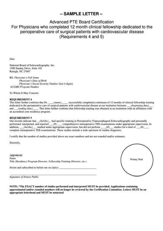 Sample Advanced Pte Board Certification Letter Template