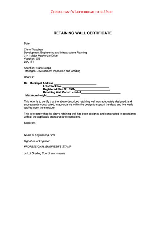 Sample Lot Block Grading Certification Letter Template Printable