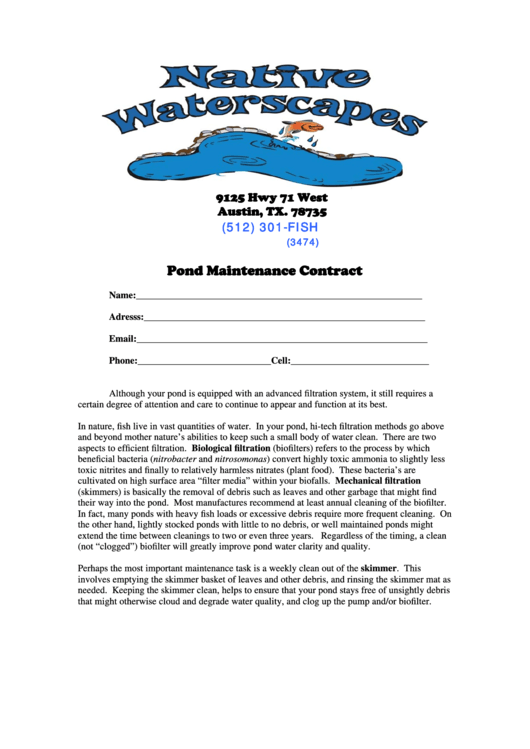 Pond Maintenance Contract - Native Waterscapes