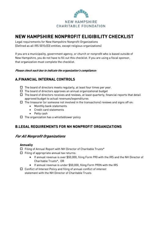 New Hampshire Nonprofit Eligibility Checklist Template Printable pdf