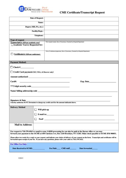 Cme Certificate Transcript Request