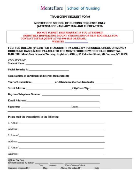Transcript Request Form Montefiore Health System