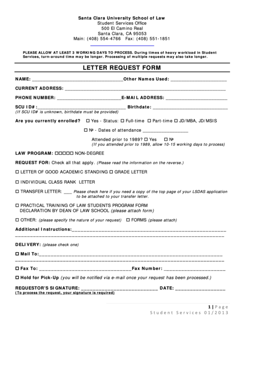 Letter Request Form - Santa Clara University School Of Law Printable pdf