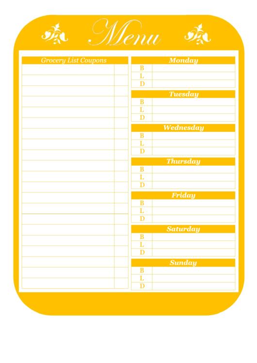 Menu Template With Coupons Printable pdf