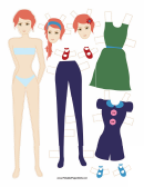 Fashion Paper Doll With Flower