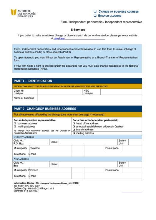 Change Of Business Address - Autorite Des Marches Financiers Printable pdf