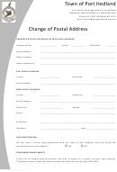 Change Of Address Form - Town Of Port Hedland
