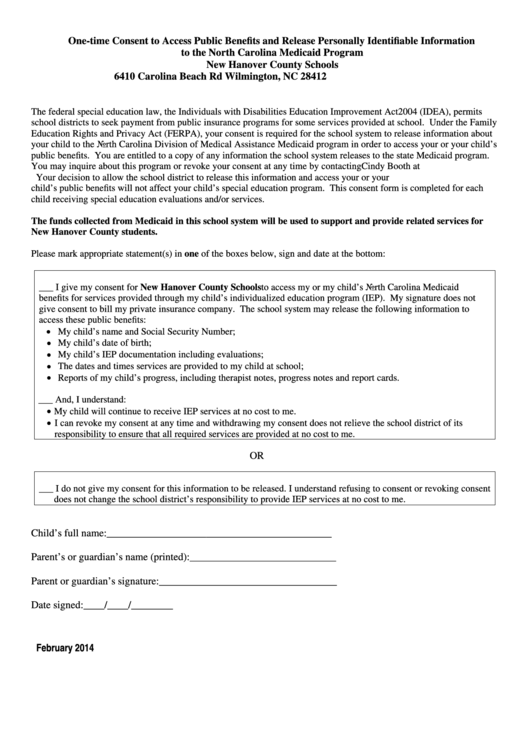 Medicaid Parent Consent Form - New Hanover County Schools