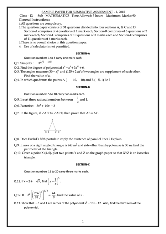 Sample Maths Paper For Summative Assessment Printable pdf