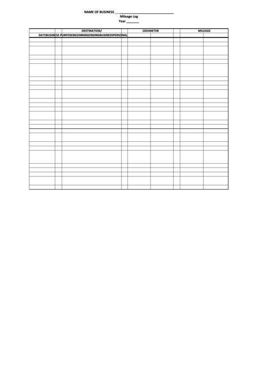 Business Mileage Log Sheet