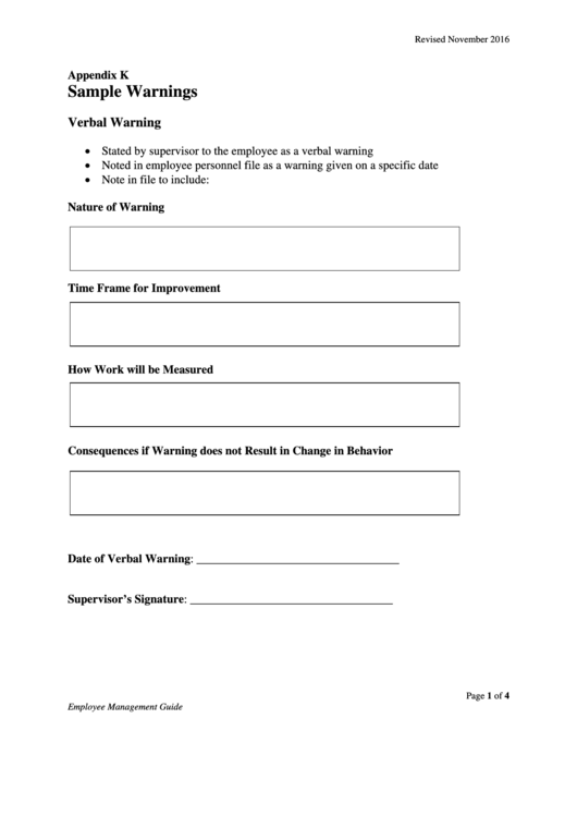 Verbal Warning Form Templates Sample Warnings