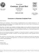 Consumer Vs Business Complaint Form - Orange County