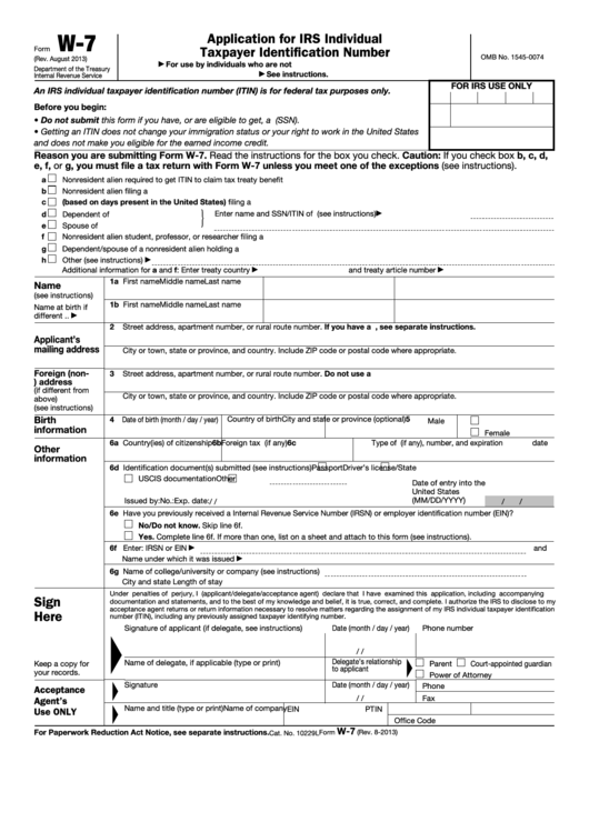 Fillable Form W 7 Application For Irs Individual