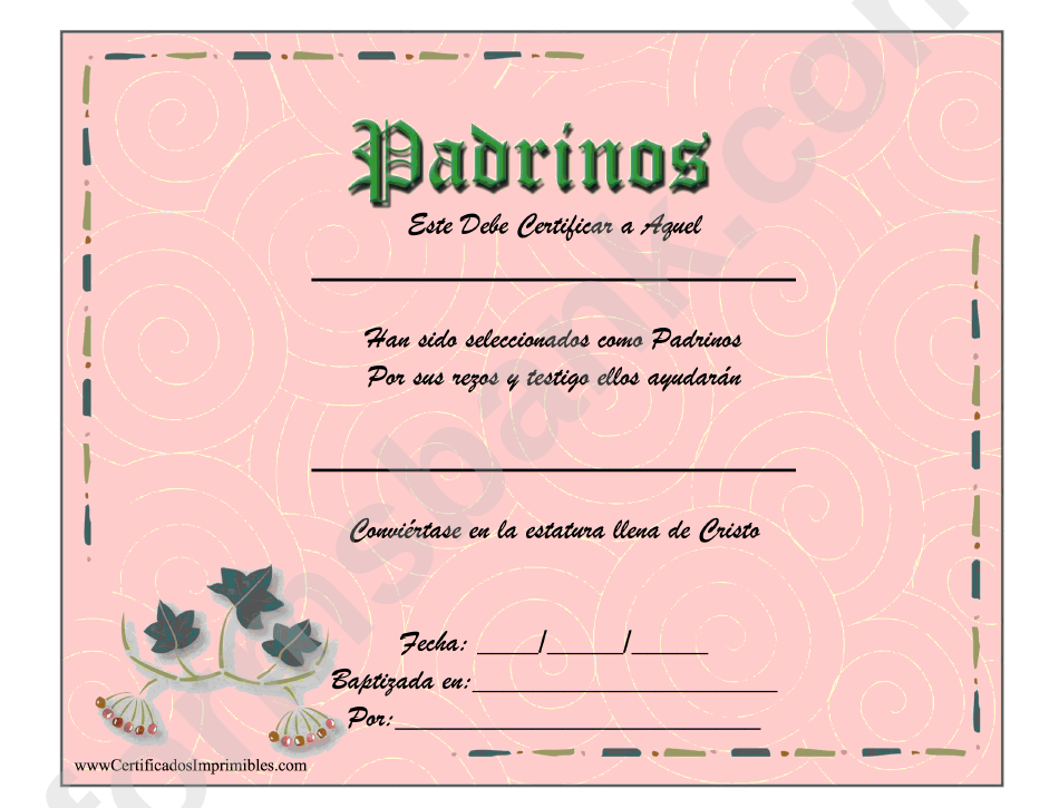 godparents certificate template printable pdf download