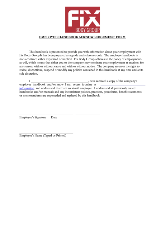 Employee Manual Acknowledgment Forms Word Pdf Employee Handbook - Employee handbook acknowledgement form template