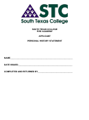 South Texas College Fire Academy Applicant Personal History