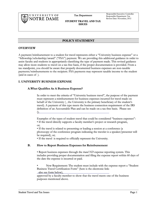 Student Business Travel Certification Form