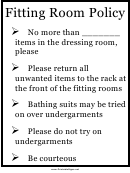 Fitting Room Policy