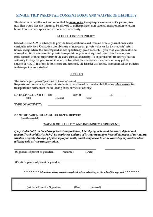 Single Trip Parental Consent Form And Waiver Of Liability Printable pdf