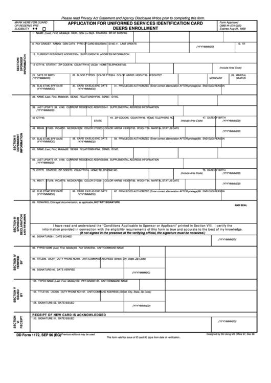 Fillable Dd Form 1172 - Application For Uniformed Services Identification Card Deers Enrollment Printable pdf